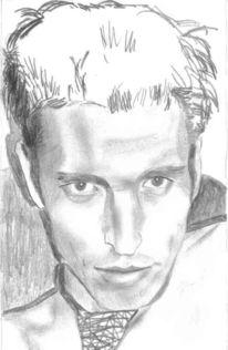 Selbstportrait, Bleistiftzeichnung, Schmierig, Portrait