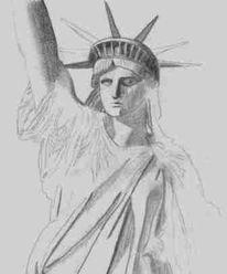 Skizze, Bleistiftzeichnung, Zeichnung, Freiheitsstatue