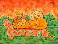 Prinzessin, Pastellmalerei, Löwe, Malerei