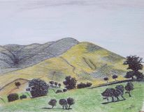 Landschaft, Cumbrien, Kumbrien, Zeichnung