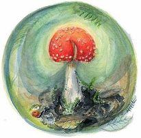 Jahreszeiten, Malerei, Wald, Pilze