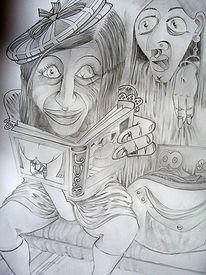 Lauschen, Bleistiftzeichnung, Marquis, Erotik