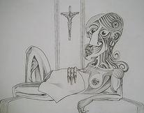 Religion, Frau, Jesus, Schwarz weiß