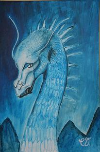 Drache, Malerei, Blau, Eragon