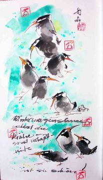 Krähe, Schnee, Malerei, Chinesisch