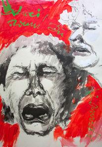 Schreien, Malerei, Gewalt, Acrylmalerei