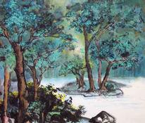 China, Bäumetusche, Tuschmalerei, Stimmung