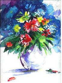 Farben, Sommer, Aquarellmalerei, Blumen