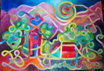 Lebendig, Malerei, Labyrinth, Farben
