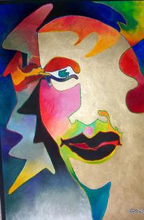 Malerei, Kopf, Aquarellmalerei, Mischtechnik