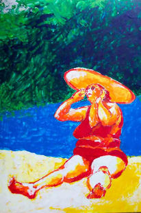 Dick, Hitze, Acrylmalerei, Strand
