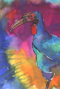 Vogel, Tusche, Farben, Malerei