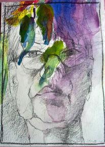 Spiegelbild, Portrait, Aquarellmalerei, Falten