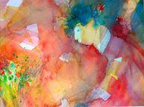 Blüte, Aquarellmalerei, Blumen, Rot