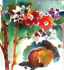 Apfel, Aquarellmalerei, Farben, Malerei