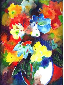 Aquarellmalerei, Blumen, Bunt, Farben