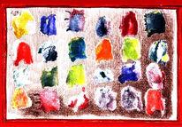 Mischtechnik, Malerei, Fingerabdrücke