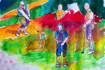 Studie, Malerei, Golf, Bewegung
