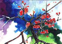 Haiku, Zweig, Aquarellmalerei, Farben