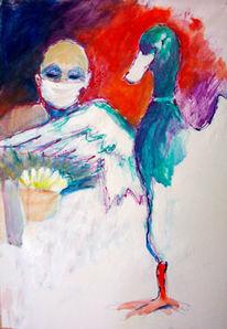 Mischtechnikente, Malerei, Grippe, Vogelgrippe