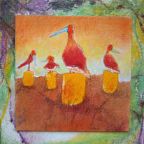 Mischtechnik, Vogel, Landschaft, Malerei