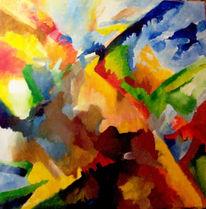 Ölmalerei, Abstrakt, Malerei, Sonnenuntergang