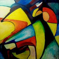 Malerei, Abstrakt, Ölmalerei, Kranich