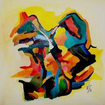 Malerei, Ölmalerei, Scharf, Abstrakt