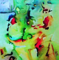 Ölmalerei, Donau, Malerei, Abstrakt