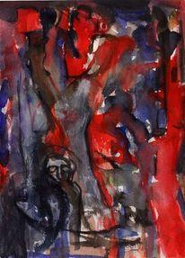 Blau, Rot, Surreal, Malerei