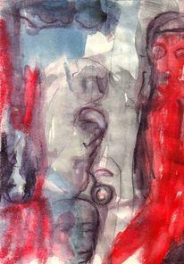Abstrakt, Rot, Figural, Surreal