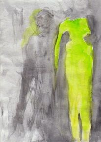 Figural, Gelb, Surreal, Aquarell
