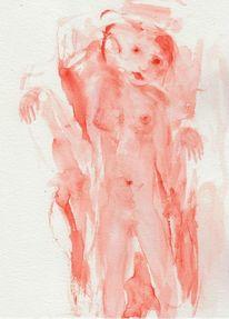 Rot, Abstrakt, Figural, Aquarell