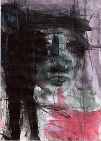 Grün, Abstrakt, Figural, Rot