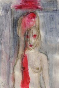 Surreal, Figural, Rot, Aquarell
