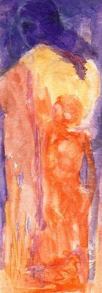 Abstrakt, Figural, Mond, Gelb