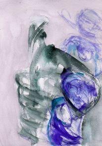 Surreal, Blau, Abstrakt, Aquarell