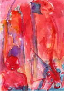 Rot, Surreal, Figural, Abstrakt