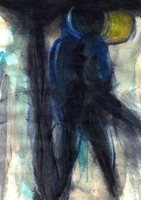 Gelb, Abstrakt, Figural, Nacht