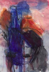 Surreal, Figural, Blau, Abstrakt