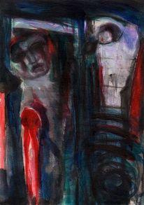 Rot, Nacht, Surreal, Malerei