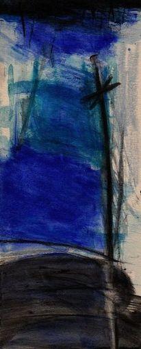 Landschaft, Blau, Nonsens, Malerei