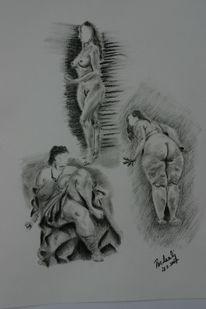 Menschen, Körper, Zeichnung, Scham