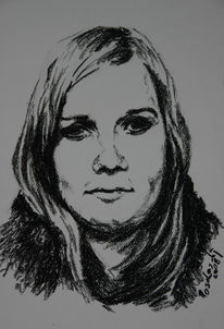 Menschen, Frau, Kohlezeichnung, Portrait