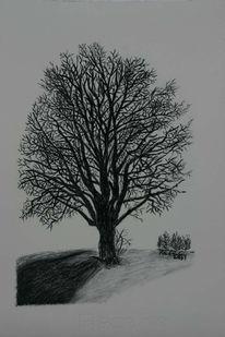 Zeichnung, Viktringer kreis, Winter, Landschaft