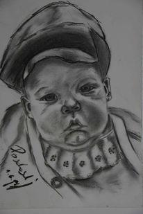 Kind, Portrait, Kohlezeichnung, Zeichnung