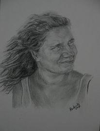 Gesicht, Grafit, Frau, Haare