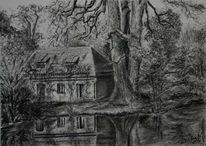 Zeichnung, Natur, Landschaft, Baum