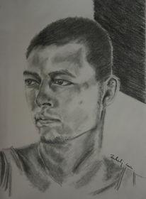 Kohlezeichnung, Selbstportrait, Menschen, Kopf