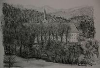 Landschaft, Viktringer künstlerkreis, Kirche, Kohlezeichnung